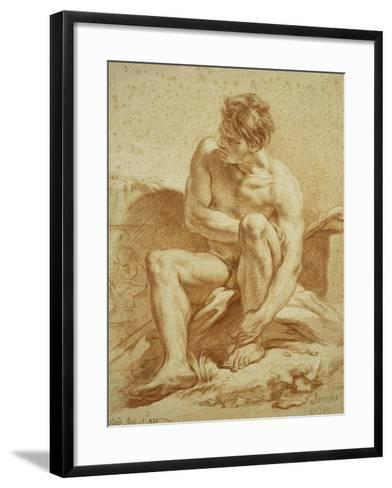 A Seated Nude with a Staff, a Relief with Putti to the Left-Francois Boucher-Framed Art Print