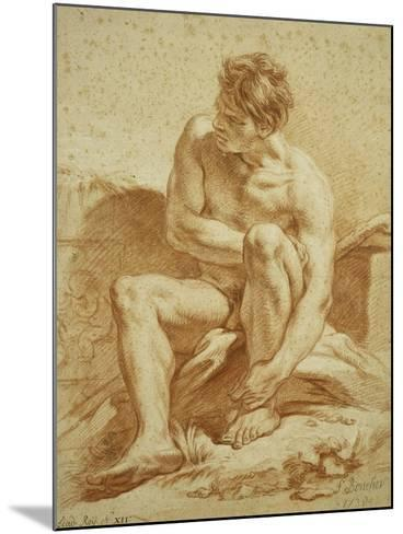 A Seated Nude with a Staff, a Relief with Putti to the Left-Francois Boucher-Mounted Giclee Print