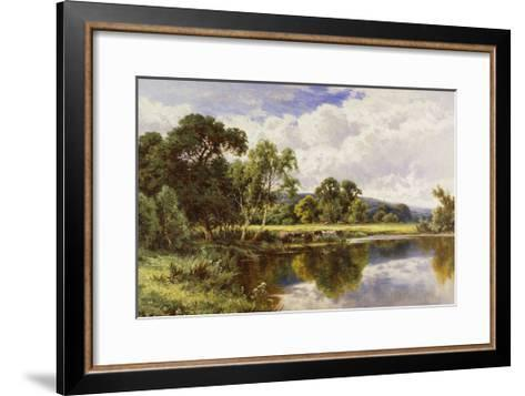 A Wooded River Landscape with Cattle-Henry H.		 Parker-Framed Art Print