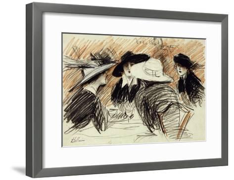 Vos Chapeux: Ladies at the Ritz, New York-Paul Cesar Helleu-Framed Art Print