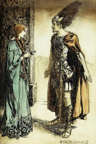 Siegfried meets Gutrune: The Twilight of the Gods-Arthur Rackham-Stretched Canvas Print