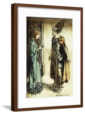 Siegfried meets Gutrune: The Twilight of the Gods-Arthur Rackham-Framed Art Print