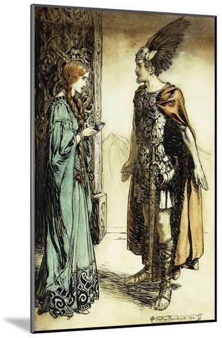 Siegfried meets Gutrune: The Twilight of the Gods-Arthur Rackham-Mounted Giclee Print