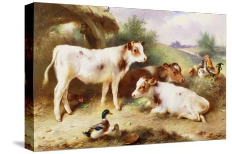Calves and Poultry by a Byre-Walter Hunt-Stretched Canvas Print