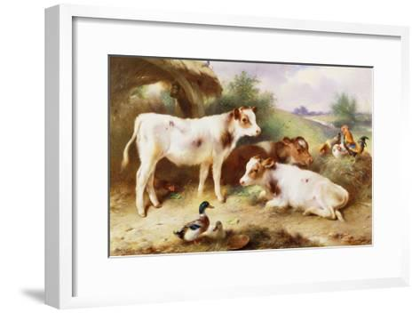 Calves and Poultry by a Byre-Walter Hunt-Framed Art Print