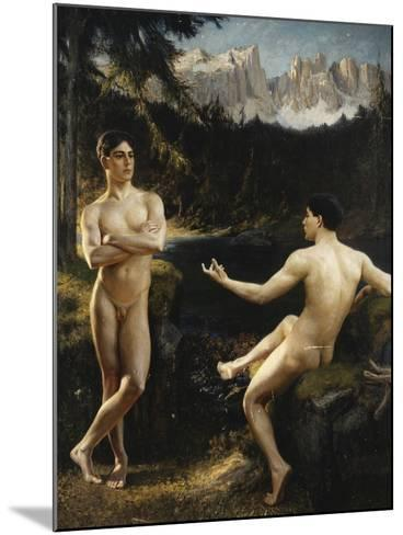 Male Nudes by a River in an Alpine Landscape-Hofer Gottfried-Mounted Giclee Print