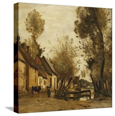 Flesselles, Street with Peasant and Cow-Jean-Baptiste-Camille Corot-Stretched Canvas Print