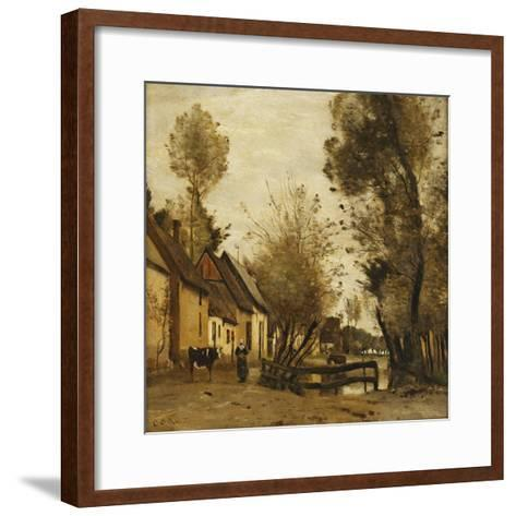 Flesselles, Street with Peasant and Cow-Jean-Baptiste-Camille Corot-Framed Art Print