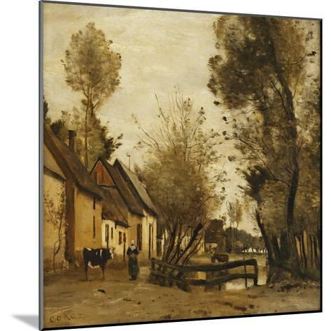 Flesselles, Street with Peasant and Cow-Jean-Baptiste-Camille Corot-Mounted Giclee Print