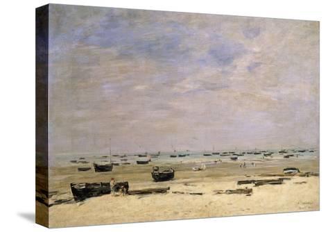 River Barges at Low Tide-Eug?ne Boudin-Stretched Canvas Print