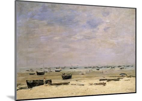River Barges at Low Tide-Eug?ne Boudin-Mounted Giclee Print