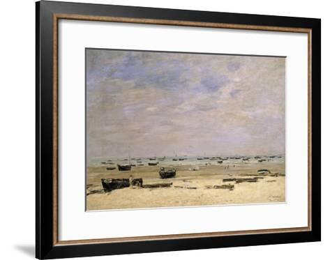 River Barges at Low Tide-Eug?ne Boudin-Framed Art Print