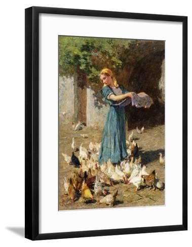 Feeding the Chickens-Luigi Rossi-Framed Art Print