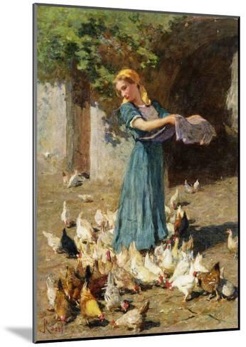 Feeding the Chickens-Luigi Rossi-Mounted Giclee Print