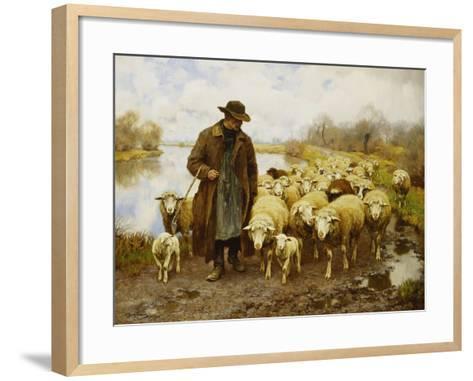 A Shepherd and Sheep by a Lake-Julius Hugo Bergmann-Framed Art Print