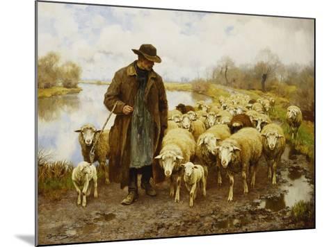 A Shepherd and Sheep by a Lake-Julius Hugo Bergmann-Mounted Giclee Print