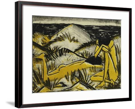 Dunes One Sitting and Girl Lying Down (Two Girls in the Sylt Dunes)-Otto		 Mueller-Framed Art Print