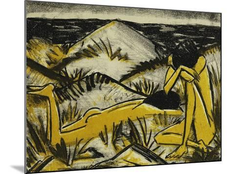 Dunes One Sitting and Girl Lying Down (Two Girls in the Sylt Dunes)-Otto		 Mueller-Mounted Giclee Print