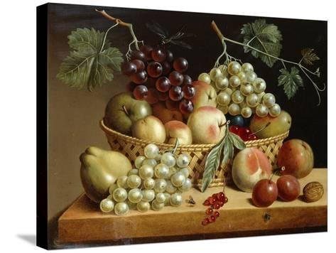 A Basket of Grapes, Apples, Peaches and other Fruit on a Ledge--Stretched Canvas Print
