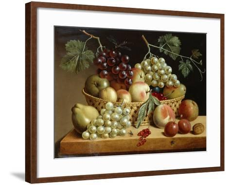 A Basket of Grapes, Apples, Peaches and other Fruit on a Ledge--Framed Art Print