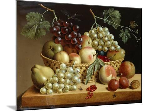 A Basket of Grapes, Apples, Peaches and other Fruit on a Ledge--Mounted Giclee Print