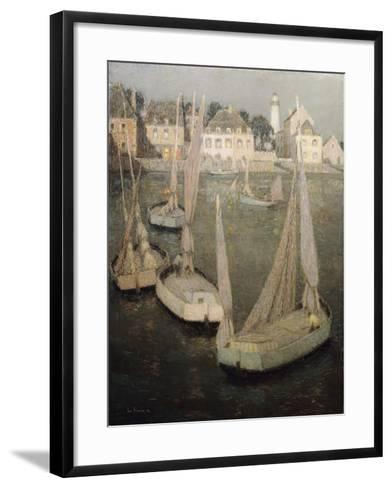 Breton Port by Moonlight-Henri Eugene Augustin Le Sidaner-Framed Art Print