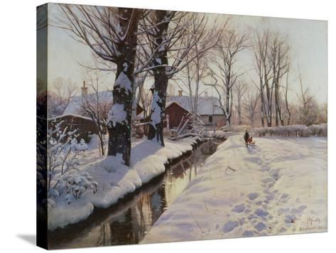 A Wooded Winter Landscape, Brondbyvester-Peder Mork Monsted-Stretched Canvas Print