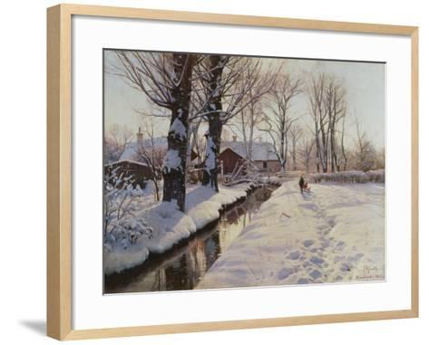 A Wooded Winter Landscape, Brondbyvester-Peder Mork Monsted-Framed Art Print