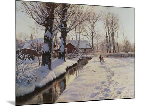 A Wooded Winter Landscape, Brondbyvester-Peder Mork Monsted-Mounted Giclee Print