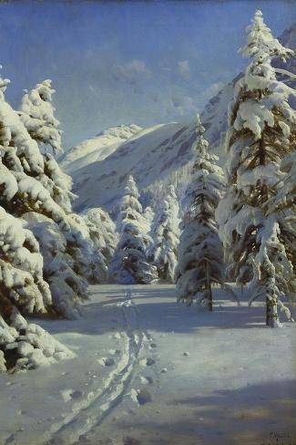 A Wooded Winter Landscape, Mortaratsch-Peder Mork Monsted-Stretched Canvas Print