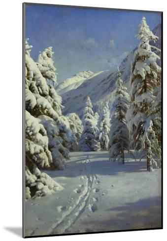 A Wooded Winter Landscape, Mortaratsch-Peder Mork Monsted-Mounted Giclee Print