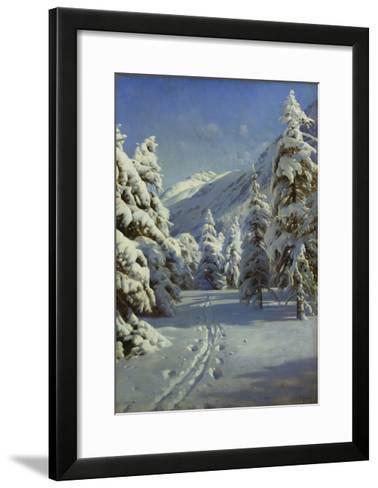 A Wooded Winter Landscape, Mortaratsch-Peder Mork Monsted-Framed Art Print