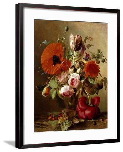 A Tulip, Roses, Poppies and other Flowers and a Beetle on a Ledge-Gronland Theude		-Framed Art Print