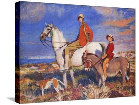 Hilda and Mary at Studland Bay, Dorset-George Spencer Watson-Stretched Canvas Print