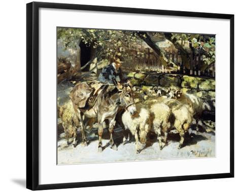 A Shepherd with his Flock-Heinrich Zugel-Framed Art Print
