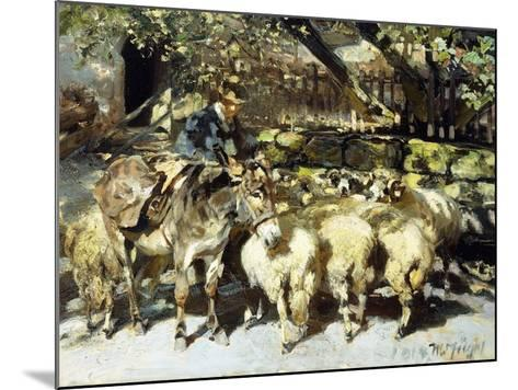 A Shepherd with his Flock-Heinrich Zugel-Mounted Giclee Print