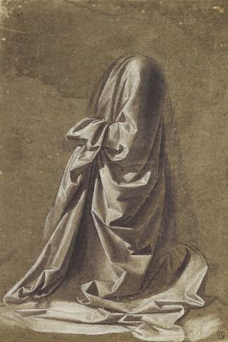 Drapery Study for a kneeling figure-Leonardo da Vinci-Stretched Canvas Print