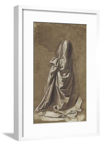 Drapery Study for a kneeling figure-Leonardo da Vinci-Framed Art Print