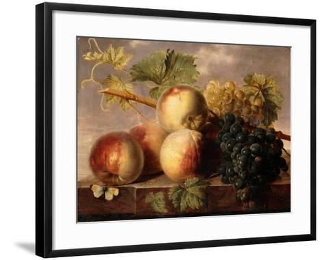 Peaches and Grapes with a Cabbage White on a Marble Ledge-Jan Frans Dael-Framed Art Print