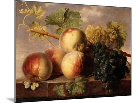 Peaches and Grapes with a Cabbage White on a Marble Ledge-Jan Frans Dael-Mounted Giclee Print