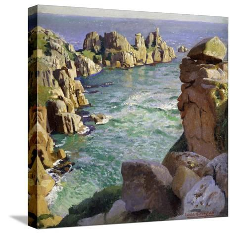 Logans Rock, Porthcurno Beach, Cornwall-Harold		 Harvey-Stretched Canvas Print