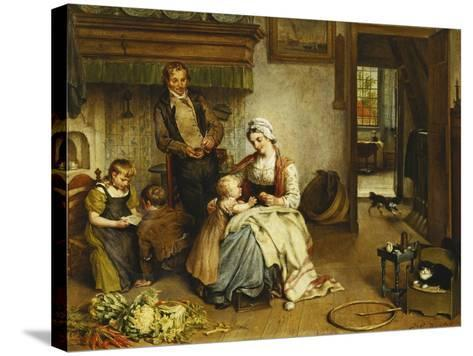 A Family in an Interior-Johannes Petrus Horstok-Stretched Canvas Print