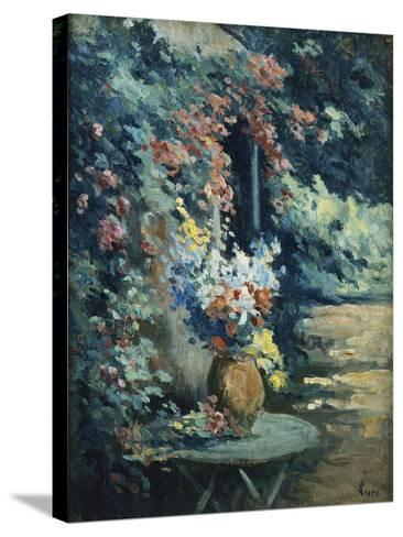 Flowers in a Landscape-Maximilien Luce-Stretched Canvas Print