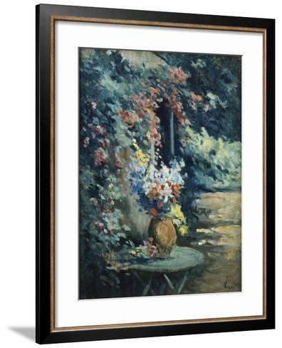 Flowers in a Landscape-Maximilien Luce-Framed Art Print
