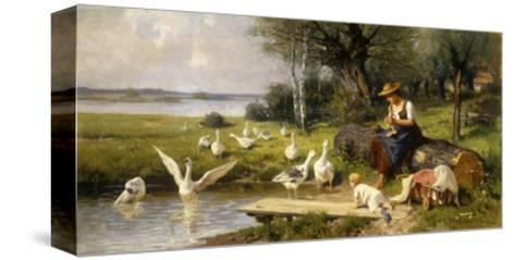 Woman and Geese; Madchen und Gansen-Adolf Ernst Meissner-Stretched Canvas Print