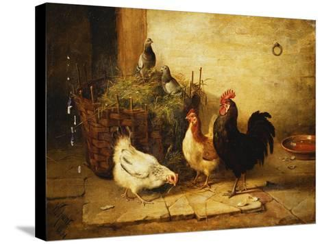 Poultry and Pigeons in an Interior-Walter Hunt-Stretched Canvas Print