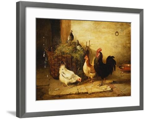 Poultry and Pigeons in an Interior-Walter Hunt-Framed Art Print