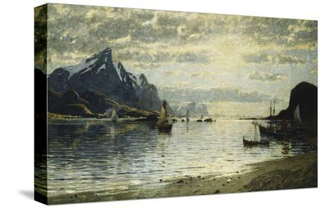 A Fjord Scene with Sailing Vessels-Normann Adelsteen-Stretched Canvas Print