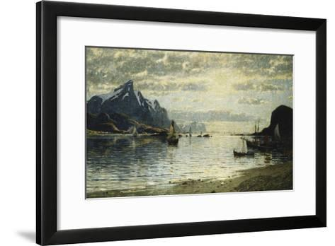 A Fjord Scene with Sailing Vessels-Normann Adelsteen-Framed Art Print