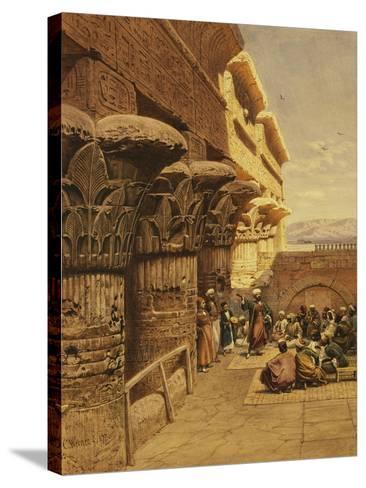 Musicians at Philae-Carl Friedrich Heinrich Werner-Stretched Canvas Print